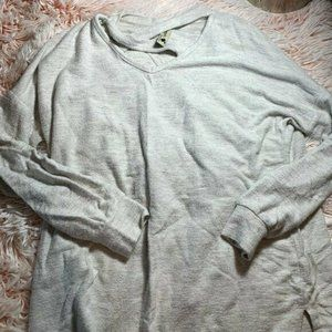 Pomelo Grey Girls Size Large Neck Cut Out Top Shir